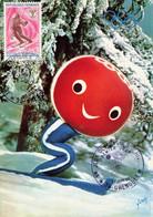 CARTE MAXIMUM #25146 38 GRENOBLE SPORTS HIVER JEUX OLYMPIQUE SKI SKIEUR SHUSS PERSONNAGE OFFICIEL1968 - 1960-1969