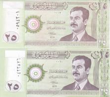 IRAQ 25 DINAR 2001 2002 P-86 UNC LOT X2 UNC NOTES DIFFERENT COLORS - Iraq