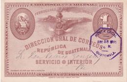 GUATEMALA 1895    ENTIER POSTAL/GANZSACHE/POSTAL STATIONARY  CARTE DE GUATEMALA - Guatemala