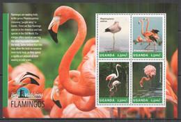 UG002 2014 UGANDA BIRDS FLAMINGOS BIRD WATCHING FAUNA #3240-4 MNH - Flamingo