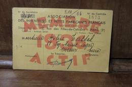 Carte De Membre De Association Des Inventeurs Et Petits Fabricants Actif 1933 Tass...Robert Evreux - Organizaciones