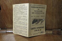 Carte De Membre De La Fédération Nationale Des Travailleurs Des Chemins De Fer 1942 Glos Monfort GLOS SUR RISLES 27290 - Organizaciones