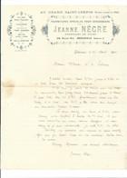 1915 Enveloppe + En-tête Jeanne Nègre CUIRS Bédarieux Hérault 34  TB 3 Scans - 1900 – 1949