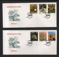 BUZIN / 2 FDC DU ZAIRE / 1987 / SERIE 'REPTILES' / COB 1317 à 1322 - 1985-.. Birds (Buzin)
