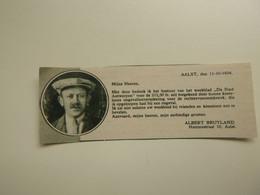"""Origineel Knipsel ( D 64 ) Uit Tijdschrift """" De Stad """" 1934 :   Verzekering  Ongevallenverzekering   Aalst - Zonder Classificatie"""