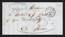 Lettre-110035 LAC Bouches Du Rhone Marseille Marque Postale Taxe 25C Pour Le Havre 5/8/1853 Cachet 4ème Arrondissement - 1849-1876: Klassieke Periode