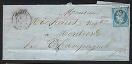 """FRANCE 1867: LSC Avec Le Y&T 22 D'Auxerre Pour Champagnole (Jura), Obl. GC 249, CAD Bureau De Passe """"1307"""" Au Dos - 1862 Napoleon III"""