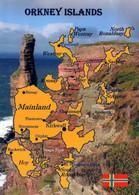 1 Map Of Orkney Islands * 1 Ansichtskarte Mit Der Landkarte Von Den Orkney Inseln - Sie Gehören Zu Schottland * - Maps