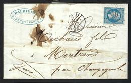 """FRANCE 1867: LAC Avec Le Y&T 22 De Paris Pour Montrond (Jura), Obl. étoile """"30"""" - 1862 Napoleon III"""