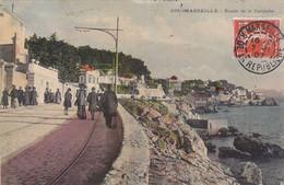 MARSEILLE : TRES RARE CPA DE 1907. AVEC CETTE ANIMATION.LA ROUTE DE LA CORNICHE.B.ETAT - Endoume, Roucas, Corniche, Playas