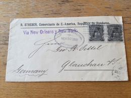 K19 Honduras 1895 Cover From Tegucigalpa Via New Orleans And New York To Glauchau - Honduras