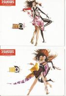 F27 / CARTE CPM Publicitaire PUB Card Cart' Com Artiste MODE 3 SUISSES MOI Lot 2 Cartes - Fashion