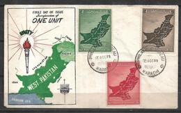 PAKISTAN 1955 FDC ONE UNIT MAP OF PAKISTAN - Pakistan