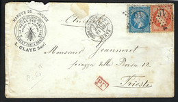 """FRANCE 1864: LAC Avec Les Y&T 22-23 De Paris Pour L'Italie, Obl. étoile """"16"""" - 1862 Napoléon III"""