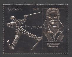 Guyana, 1993, Grospiron, Freestyle Skiing, Olympic Winter Games Lillehammer, Genova, Silver, MNH PROOF, Michel 3983 - Guyana (1966-...)
