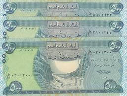 IRAQ 500 DINAR 2013 2015 2018 P- 98 X3 UNC NOTES - Iraq