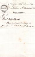 LONDRES / EAST INDIA AGENCY / PITTIS / MEMORANDUM 1872 - United Kingdom