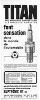 PUB 1970 Automobile Bougies TITAN COLOMBES Hauts De Seine 92 - Advertising