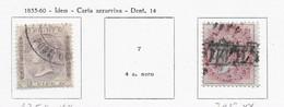 95561) INDIA INGLESE- LOTTO DI FRANCOBOLLI- 1855-60 VITTORIA 2 VALORI- USATI-N.6 E 8 CARTA AZZURRINA - Unclassified