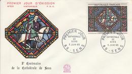 FDC 1965 CATHEDRALE DE SENS - 1960-1969