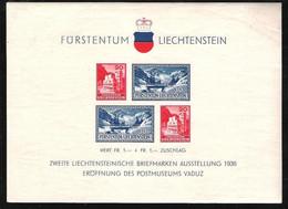 Liechtenstein 1936: Postmuseum & EXPO In Vaduz 1936: Zu W 14 Mi Block 2  Yv BF2 ** Postfrisch MNH (Zumstein CHF 60.00) - Blocchi & Fogli