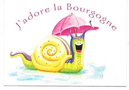 J'adore La Bourgogne - Illustration Vincent Albenque - Ed. MG à Sandillon N° 99 014 020 - Escargot Coquille Parapluie - Bourgogne