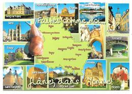 89 - Faites Comme Moi Flânez Dans L'Yonne - Multi Vues Contour Département Escargot Coquille Flânerie - Unclassified