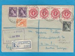 """EINGESCHRIEBENER BRIEF   AUS SYDNEY NACH WIEN. SCHIFFSPOSTSTEMPEL """"H.M.A.S. 'SYDNEY' """". - Lettres & Documents"""