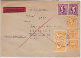 AM-Post - 5x6+2x12 Pfg. Amerik. Druck, Eilbrief Unterhaching - München 1946 - Zona Anglo-Américan