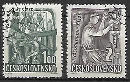 TCHECOSLOVAQUIE     -    1949 .  Y&T N° 515 / 516 Oblitérés.  Syndicats.  Charpentiers, Mécaniciens - Used Stamps