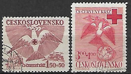 TCHECOSLOVAQUIE     -    1949 .  Y&T N° 521 / 522 Oblitérés .   Croix - Rouge  /  Colombe. - Used Stamps
