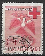 TCHECOSLOVAQUIE     -    1949 .  Y&T N°  522 Oblitéré .   Croix - Rouge  /  Colombe. - Used Stamps