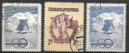 TCHECOSLOVAQUIE     -    1950 .  Y&T N°  523 à 525 Oblitérés .  Ski.  Série Complète. - Used Stamps