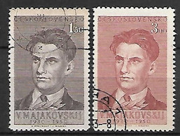 TCHECOSLOVAQUIE     -    1950 .  Y&T N°  526 / 527 Oblitérés .  Le Poète Russe Maïakovski - Used Stamps