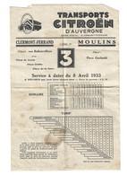 Horaires Transports Citroën Auvergne Ligne 3 Clermont Ferrand Moulins 1933 - Europe