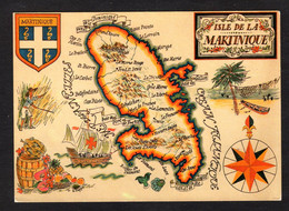"""Carte Géographique""""Martinique"""" Grand-Rivière, Le Lorrain, Marigot, Ste-Marie, Le Precheur, Le Carbet, Case Pilote, Ducos - Maps"""