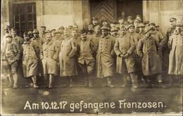 Photo CPA Französische Kriegsgefangene, WK I, Gruppenbild, 10.12.1917 - Zonder Classificatie