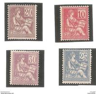 Série 112 / 115 Mouchon - 10c/20c/25c/30c. TB. - 1900-02 Mouchon