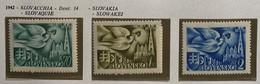 SLOVACCHIA 1942 1° CONGRESSO POSTALE EUROPEO SERIE COMPLETA  3 VALORI  MLH *  PERFETTO  Yv. 74/76 - Nuevos