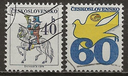 TCHECOSLOVAQUIE: Obl., N°YT 2075a Et 2076a, Pap. Fluo., TB - Used Stamps