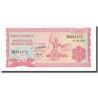 Billet, Burundi, 20 Francs, 2001, 2001-08-01, KM:27d, NEUF - Burundi