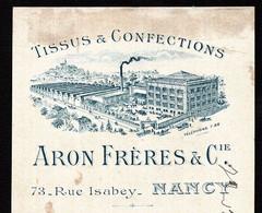 NANCY - Lettre De Change Illustrée 1915 - TISSUS & CONFECTIONS  - ARON FRERES & CIE -  73 Rue Isabey - Bills Of Exchange
