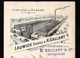COMINES (Nord) - 1893 Lettre Change Illustrée - Fabriques De Rubans En Tous Genres - LAUWICK Frères & H. GALLANT - Bills Of Exchange