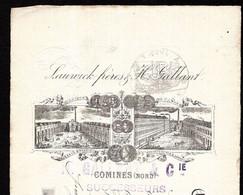 COMINES (Nord) - 1895 Lettre Change Illustrée -  LAUWICK Frères & H. GALLANT - H.GALLANT & Cie Successeurs - Bills Of Exchange