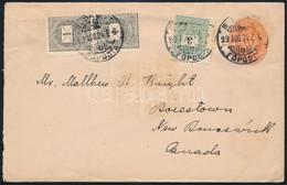 """1899 5kr Díjjegyes Levél 2 X 1kr + 3kr Díjkiegészítéssel """"BUDAPEST / FŐPOSTA"""" - Boiestown (Kanada) RRR! - Unclassified"""
