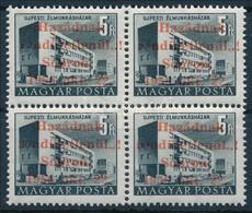 ** 1956 Sopron 5Ft Négyestömb Eltolódott Felülnyomással, MB Vizsgálójellel, Leitold Igazolással (144.000) - Unclassified