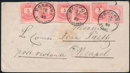 """1880.jan.22. 5kr Díjjegyes Levél 5 X 5kr Díjkiegészítéssel """"POZSONY / DÉLUTÁN"""" - Nápoly, Nem Ajánlott! RRRR! - Unclassified"""