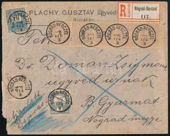 """1900 Ajánlott Levél Valószínűleg Hiányos Krajcár-Turul Vegyes Bérmentesítéssel, 8 Bélyeggel Bérmentesítve """"NÓGRÁD-BERCZE - Unclassified"""