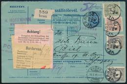 1899 Szállítólevél Feketeszámú 30kr + 24kr + 2 X 1kr Bérmentesítéssel Svájcba Küldve - Unclassified