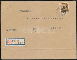 1945 Abony Helyi Ajánlott Levél A Molnár Család Hagyatékából 2P/80f Bérmentesítéssel, Hátoldali érkeztetéssel, Kézzel ír - Unclassified